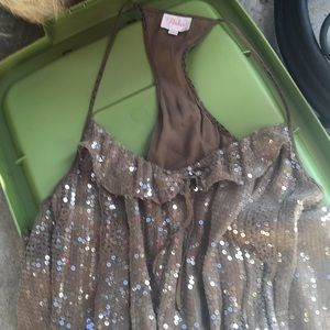 Parker silk taupe sequin, mini dress, lined,S